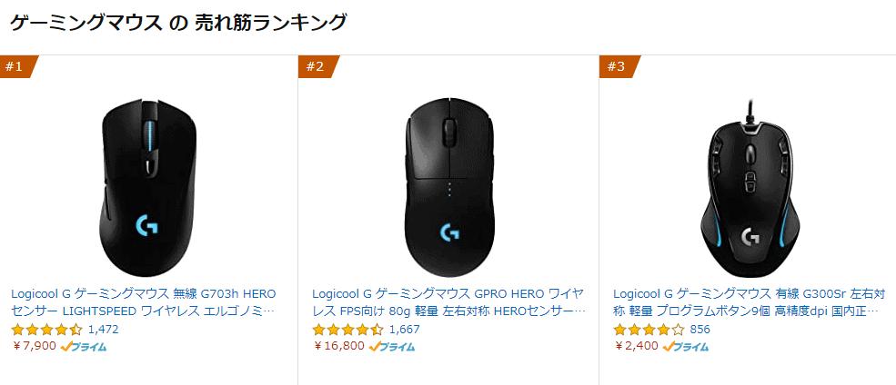 ゲーミングマウス売れ筋ランキング